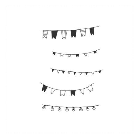 Vector hand drawn icons, a set of party garlands. Celebration illustration.