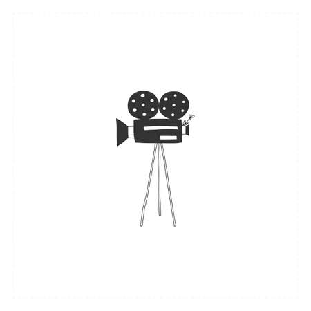 A videocamera, hand drawn vector icon. Cinematography illustration, cinema isolated object. Ilustracja