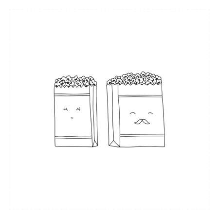 Vector hand drawn icon, popcorn cute characters. An isolated object, food and drink illustration. Illustration