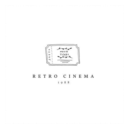 Cinema illustration. A vector hand drawn logo template with a movie ticket. Illustration
