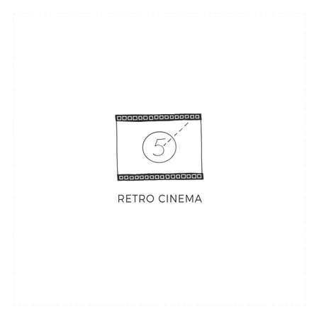 Cinematography hand drawn illustration. Vector premade logo template with a cinema film. Ilustracja