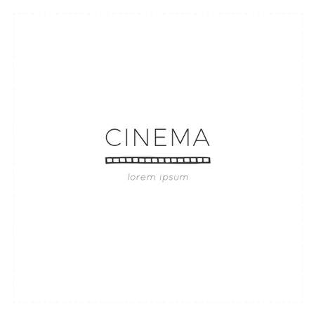 Cinematography illustration. Vector minimal hand drawn logo template with a film.