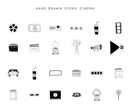 Set of vector hand drawn icons. Cinema isolated objects, cinematography illustrations and logo elements.