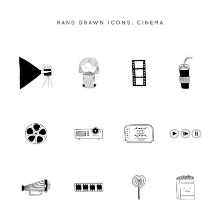 Cinematography illustrations and logo elements, cinema isolated objects. Set of vector hand drawn icons.