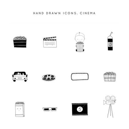 Cinema isolated objects, cinematography illustrations and logo elements. Set of vector hand drawn icons.