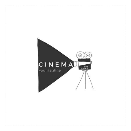 Vector hand drawn logo template, a videocamera. Cinema illustration. Ilustracja