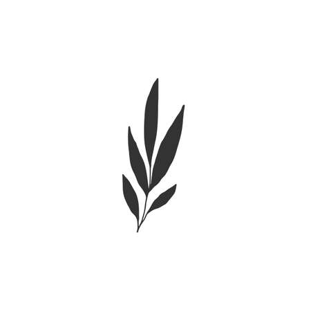 Vector simple floral icon. Hand drawn leaves.