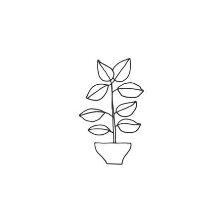 Simple floral icon. A plant in a pot. Vector hand drawn illustration.