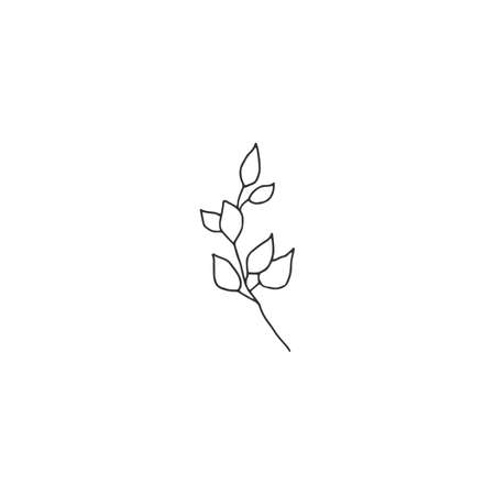 Hand drawn simple floral icon. A branch with leaves. Vector illustration.