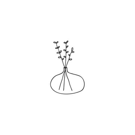 Simple floral icon. Vector hand drawn illustration. Plants in a vase. Ilustracja