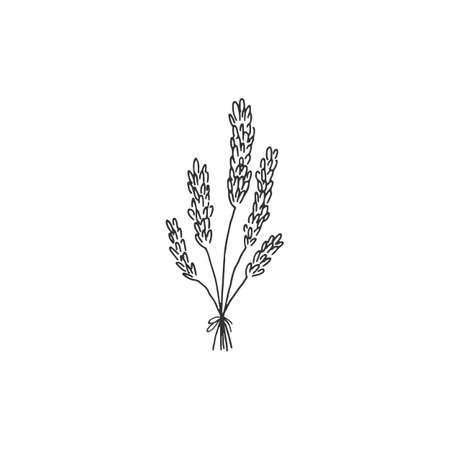 Vector simple hand drawn floral icon. A bouquet of wild flowers. Ilustracja