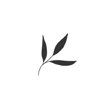 Hand drawn leaves. Vector simple floral icon.
