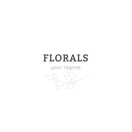 Hand drawn simple floral  template. A branch with leaves. Vector illustration. Ilustracja