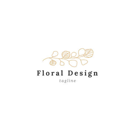 Vector simple floral   template. Hand drawn branch with leaves.