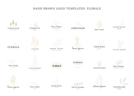 Set of vector hand drawn floral  templates.