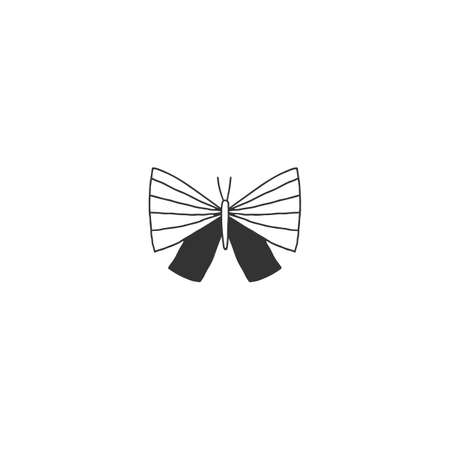 Hand drawn insect icon, a butterfly. Vector simple illustration.