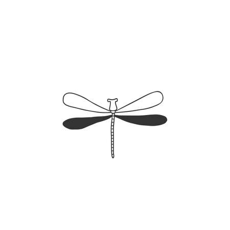 Vector insect icon, a dragonfly, flier. Minimal hand drawn illustration. Zdjęcie Seryjne - 156309541