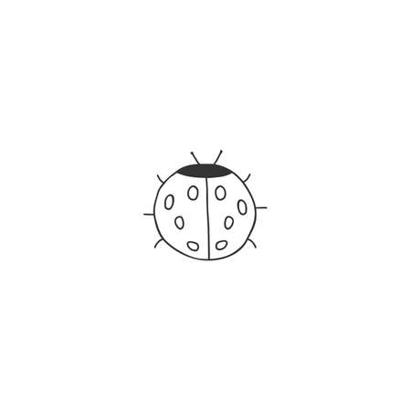 Hand drawn simple insect illustration. Vector icon, a ladybug.