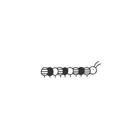 Vector insect icon, a caterpillar. Hand drawn minimal illustration.