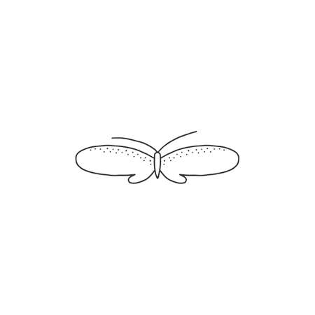 A butterfly, hand drawn insect icon. Vector simple illustration.