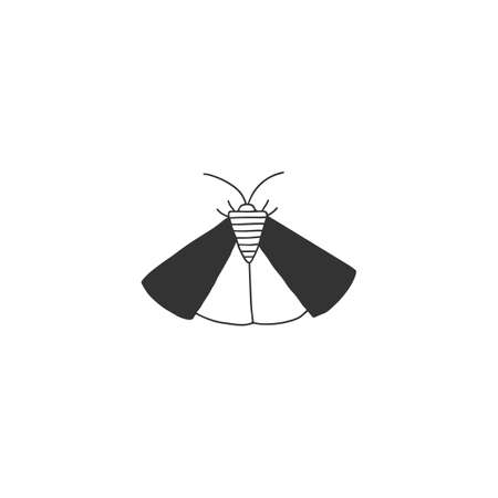 A moth, butterfly. Hand drawn icon. Vector simple insect illustration.