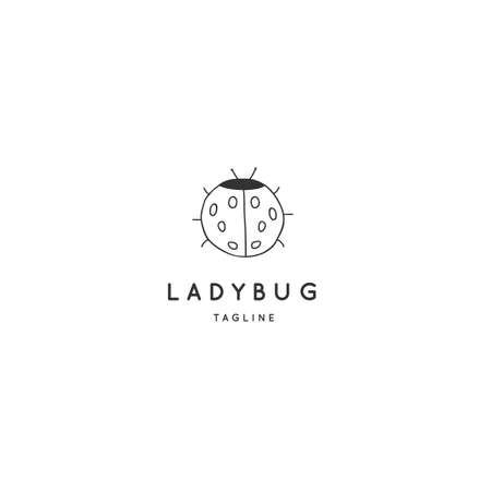Vector  template with a ladybug. Hand drawn simple insect illustration.