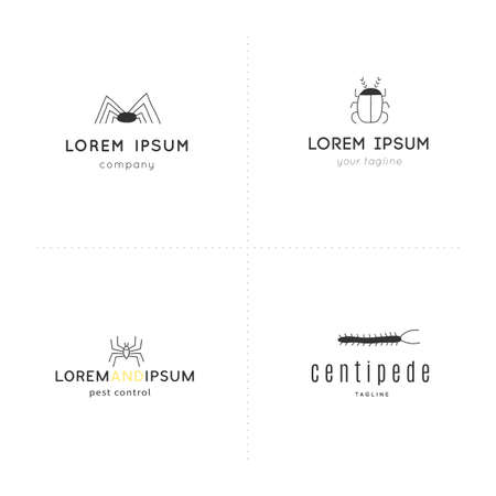 Simple  templates with insect icons. Set of vector hand drawn illustrations.