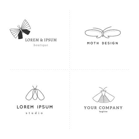 Set of vector hand drawn insect  templates. Branding identity with butterflies. Zdjęcie Seryjne - 156685437