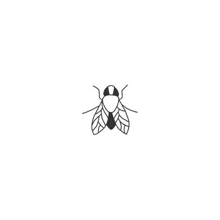 Vector insect icon, a fly. Hand drawn simple illustration.