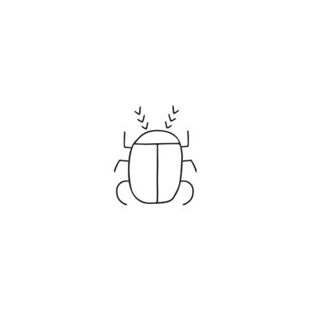 Vector minimal insect icon, a scarab beetle. Hand drawn illustration.