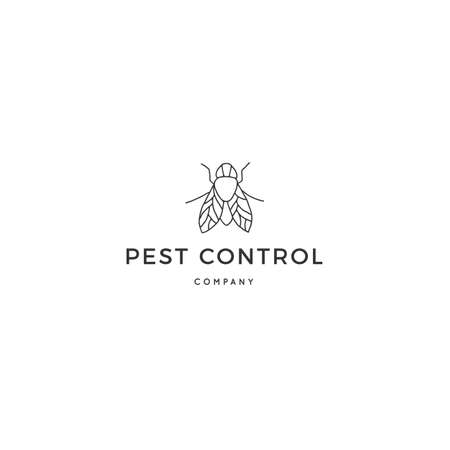Vector insect template with a fly. Hand drawn minimal design. Ilustracja