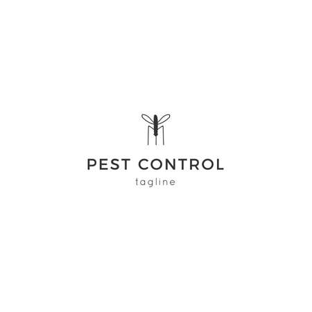 Vector insect icon, a mosquito. Hand drawn simple minimal  template.