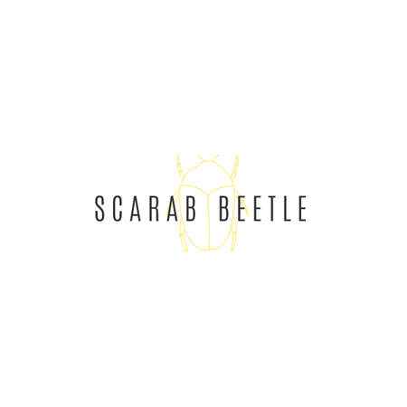 A scarab beetle. Vector minimal   template. Hand drawn illustration, insects.