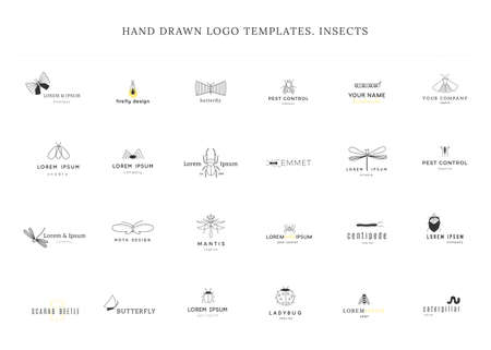 Set of vector hand drawn simple  templates with insect icons. Zdjęcie Seryjne - 157156715