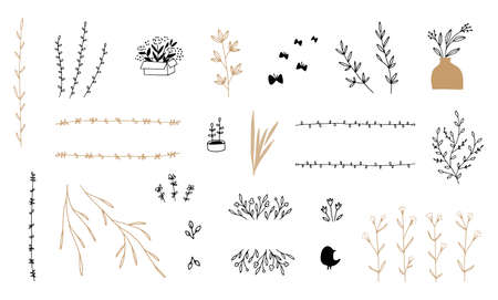 Set of vector minimalistic hand drawn floral icons. Flowers and leaves.