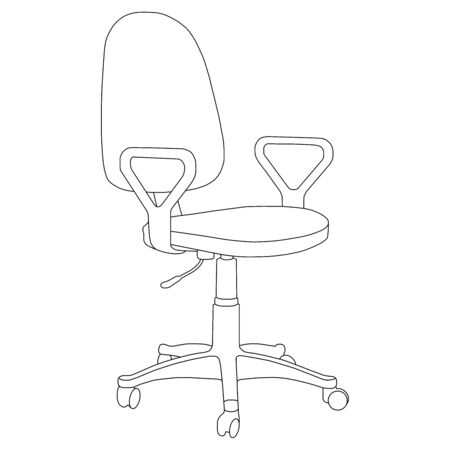Office computer chair isolated on white background. Sketch different chair. Vector illustration