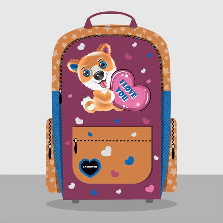 Realistic backpack with a cheerful corgi puppy. For production, fabric options for manufacturing are shown. Backpack for a girl. Patterns with stars and hearts.
