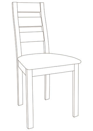 Simple Dining Chair Black Outline On A White Background. Schematic Drawing of a Conventional Chair. Chair For Dining Area Or Restaurant. Interior Furniture.