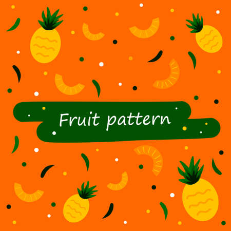 Pineapples On A Bright Yellow And Orange Background Seamless Pattern. Decorative Image of Pineapple. Pineapple slices. Ornament For Decor And Decoration.