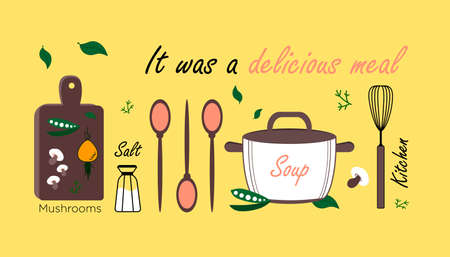 Kitchen Items On A Yellow Background. Delicious Vegetarian Food. Illustration For The Kitchen About Tasty And Healthy Food.