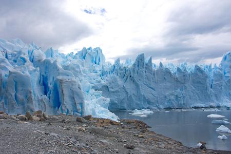 view from the coast of lake Argentino on a glacier of Perito Moreno