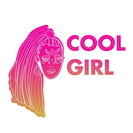 Cool girl patch  with yellow and pink