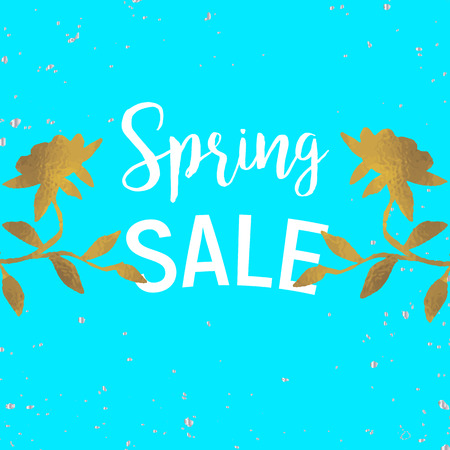 scrap gold: Gold leaves spring sale with dots and white Illustration