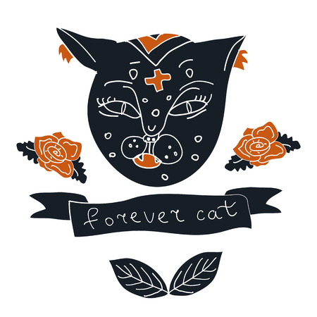 Cat hand drawn with rose and leaves