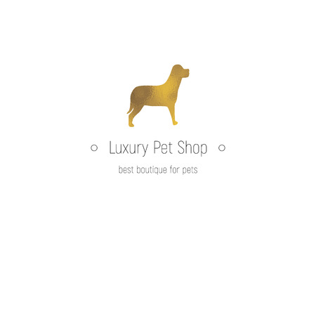 shop for animals: Golden icon for luxury pet shop and animals