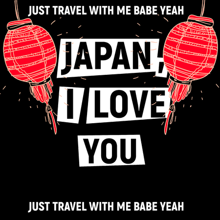 Japan, i love you poster with red lights Illustration