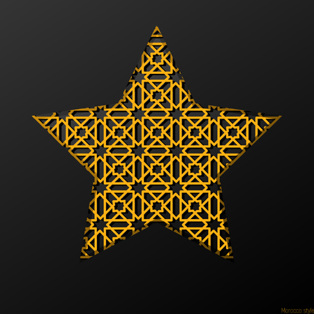 alhambra: Ornate metal star in the black background  , Morocco