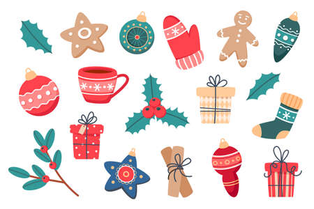 Christmas set of cute elements, vector illustration in flat style for web design, posters and cards Illusztráció