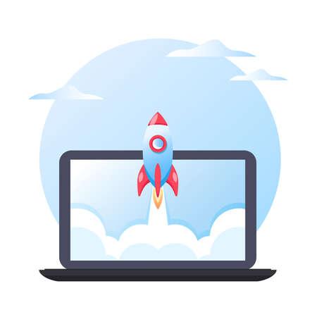 Business concept of successful project startup, rocket launch on laptop background, vector flat illustration Ilustração