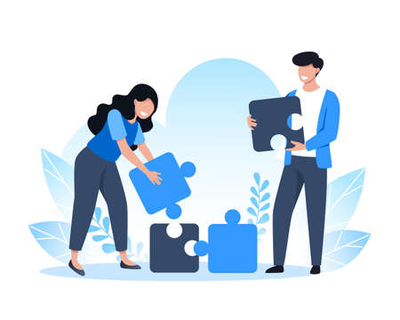 Teamwork, people brings together pieces of the puzzle, solutions and problem solving. Vector flat illustration Ilustração